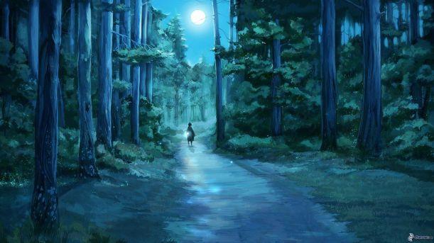 nachtlicher wald, weg durch den wald, mond, madchen, kind, zeichnung 173184